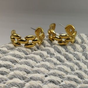 🍁 Vintage HOOPS gold NAPIER chain link classic